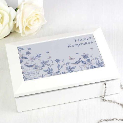 Personalised Country Diary Blue Blossom Jewellery Box